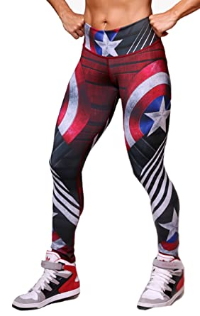 a3b7ac971a056 Captain America Superhero Leggings Yoga Pants Compression Tights at ...