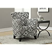 Monarch Specialties Upholstered Club Chair Accent Chair, Abstract Fabric, Black / Beige