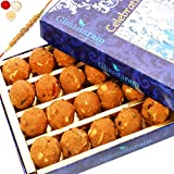 Ghasitaram Gifts Rakhis For Brother Rakhi Sweets - Ghasitaram's Special Besan Laddoo (400 gms) with Om Beads Rakhi