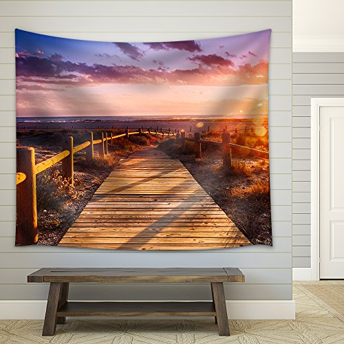 wall26 - Sunset Beach near Almeria. Cabo De Gata Nijar Natural Park, AlmeríA. Spain. Andalusia - Fabric Wall Tapestry Home Decor - 68x80 inches by wall26