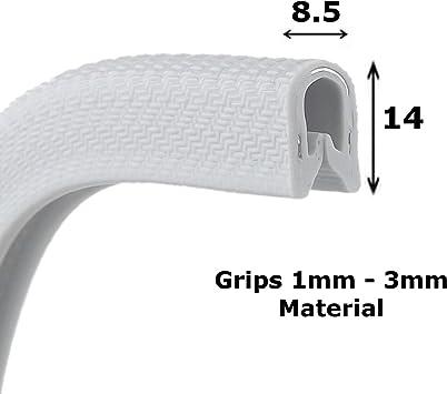 Standard cream rubber car edge protective trim 14mm x 8.5mm