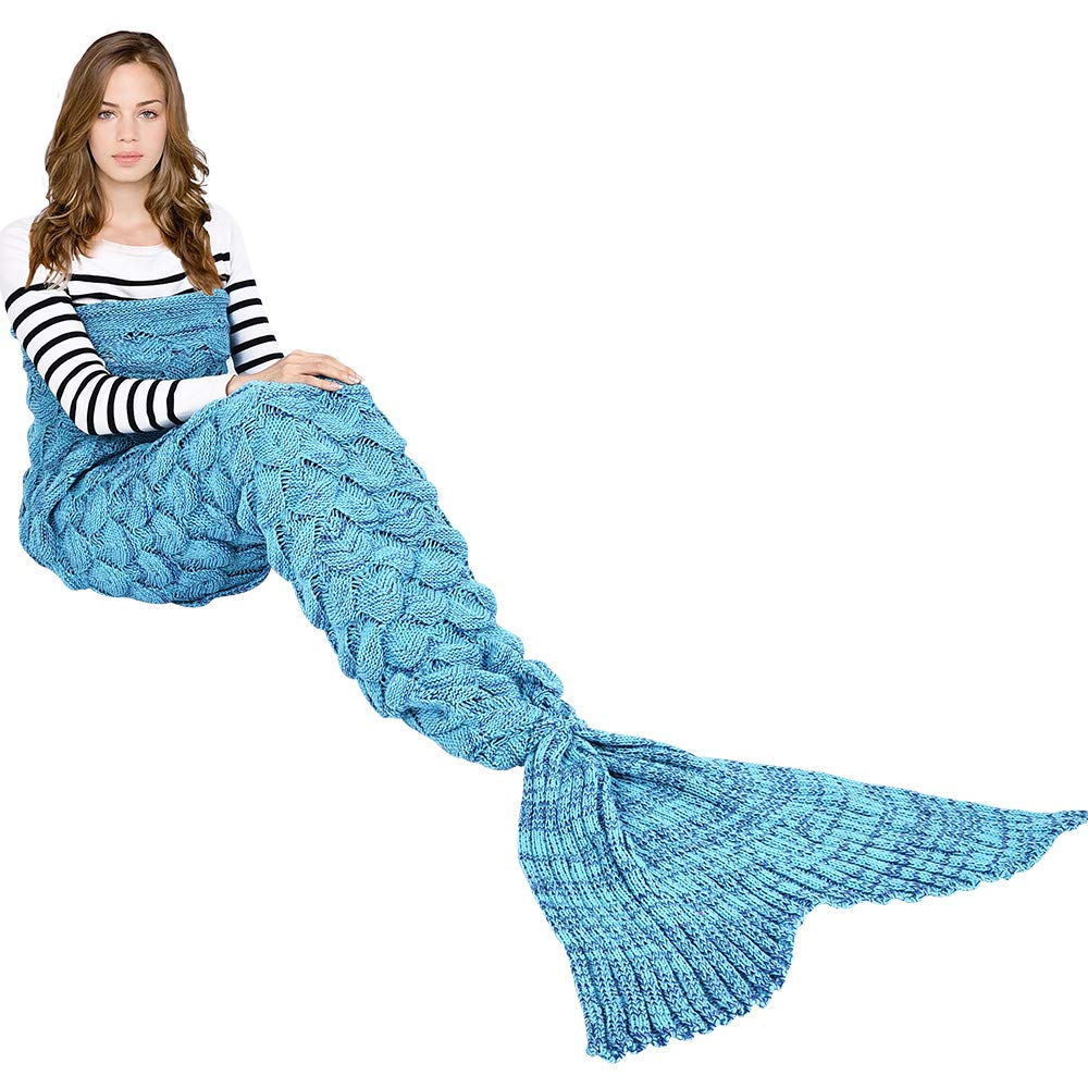Hecho a mano de punto manta de cola de sirena todas las estaciones cálido  sofá cama sala de estar manta para adultos, Patrón de Fish-escalas, ...