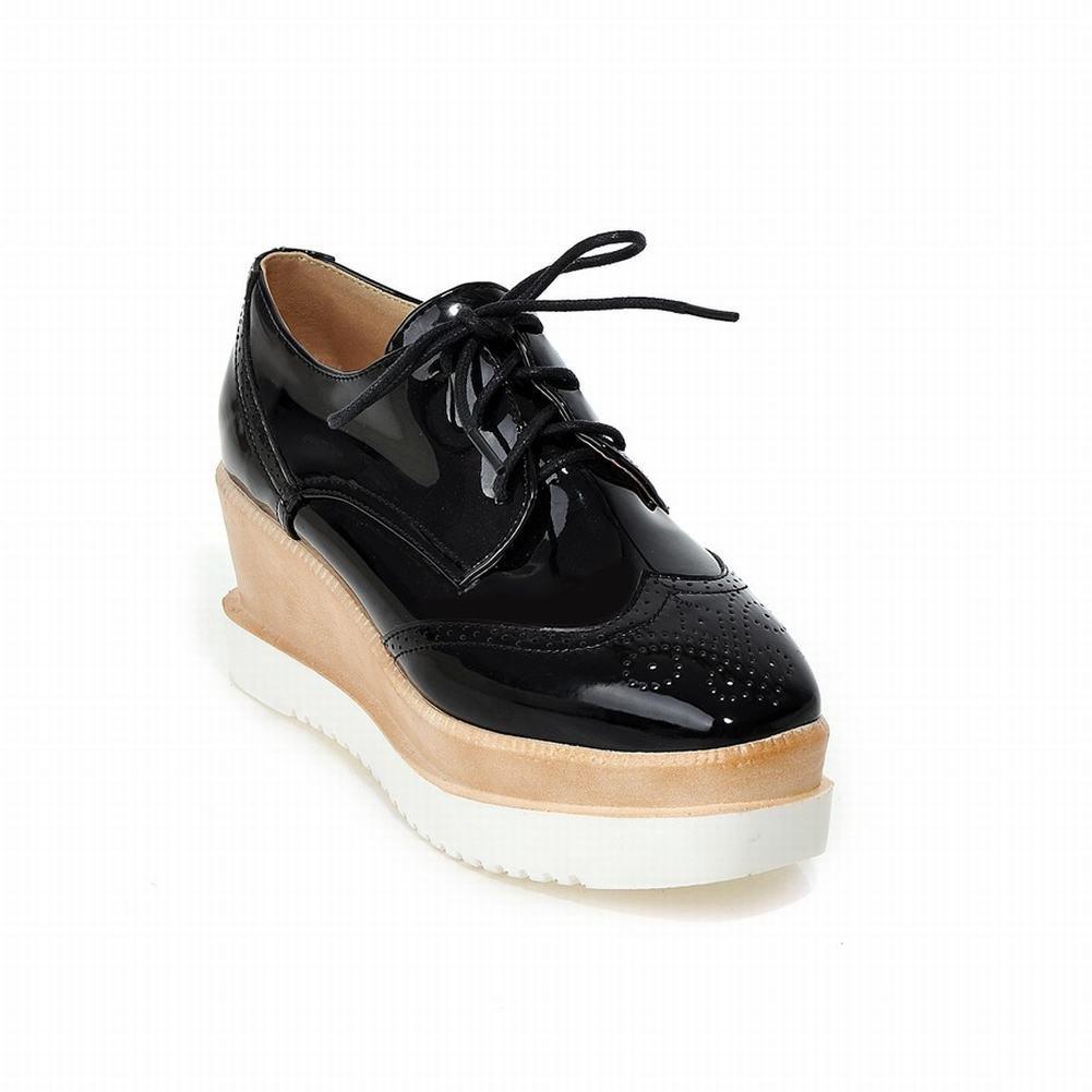Lucksender Womens Fashion Platform Wedge Heel Lace-up Carved Oxfords Shoes 7B(M)US Black