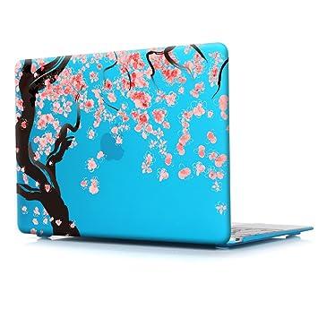 TwoL Flores de Cerezo Plástico Funda Dura Carcasa para MacBook Air 13,Cielo Azul
