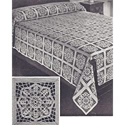 Vintage Crochet PATTERN to make - MOTIF BLOCK Bedspread in Serenade Design. NOT a finished item. This is a pattern and/or instructions to make the item only.