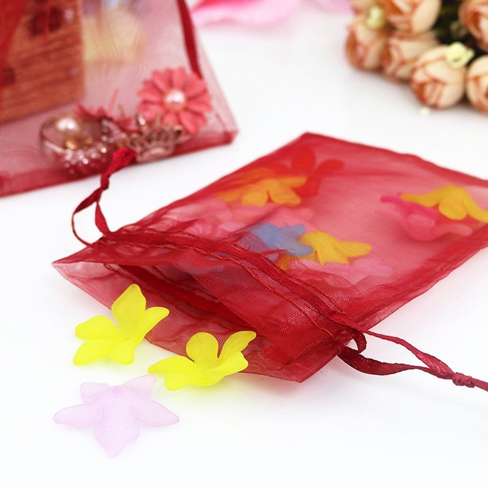 Pink 13X18CM Borse in organza,Sacchetti regalo grande organza 100PCS Sacchetti di gioielli coulisse e sacchetti di caramelle per bomboniere 5  x 7