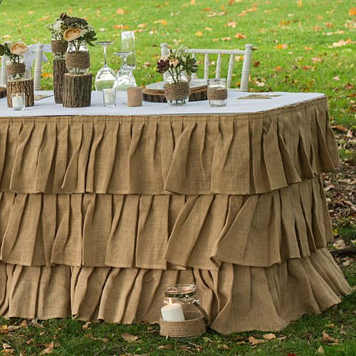 Tiered Ruffle Burlap Table Skirt Party Supplies Decorations by Shindigz