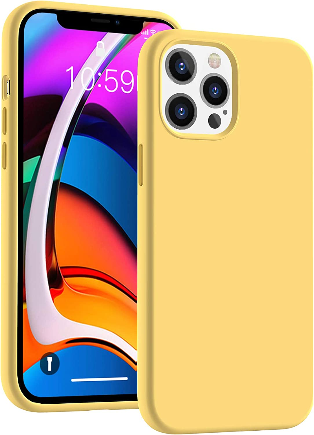 CUCELL Compatible with iPhone 12 Pro Max Case 6.7 inch(2020),Liquid Silicone Gel Rubber Full Body Protection Cover Shockproof Durable Drop Proof Shell-Yellow