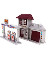Fityle 1:87 Model Train Layout HO Scale Gas Station Micro Landscape Ornament Decor