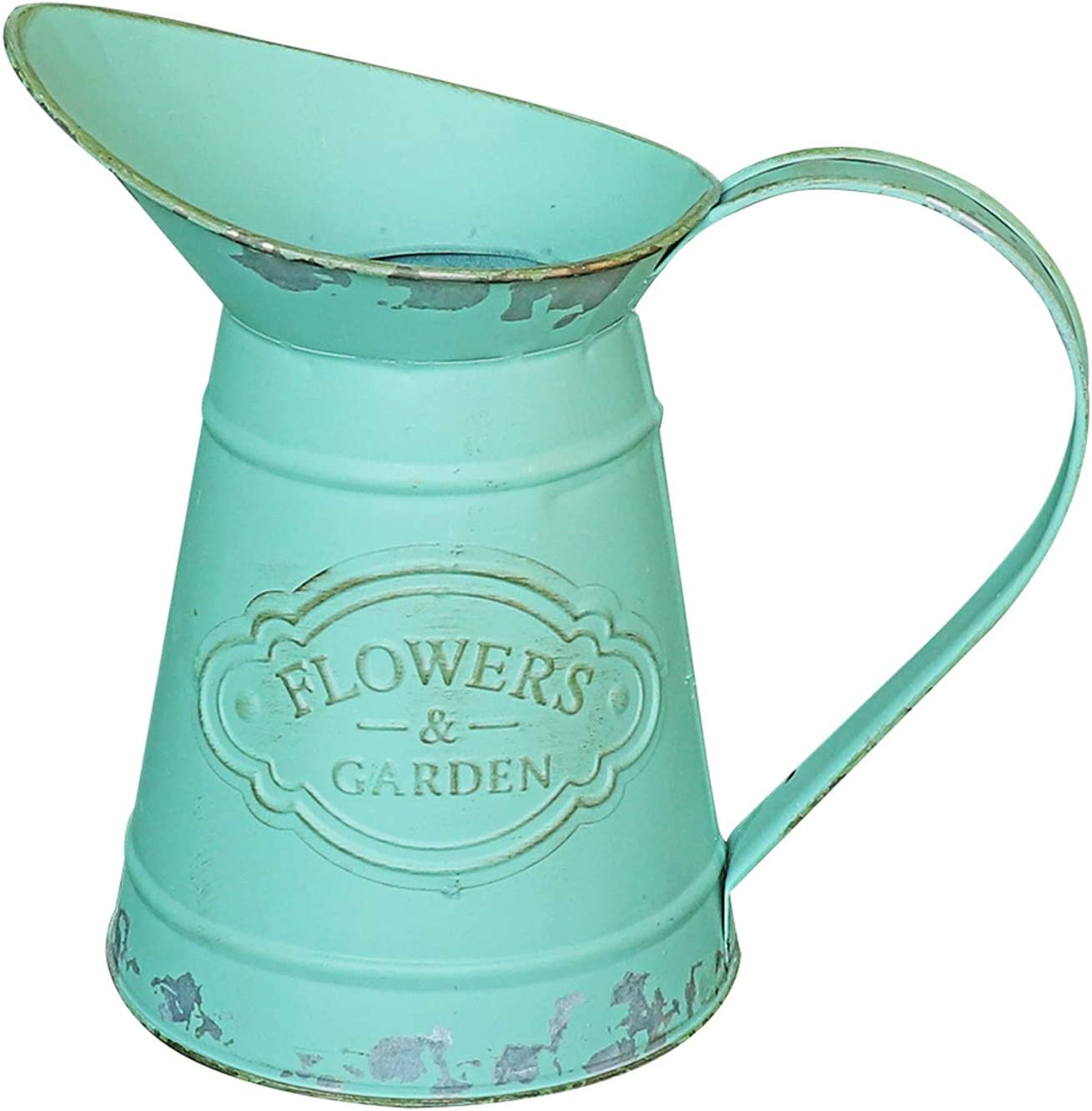 MISIXILE Rustic Style Flower Vase, Shabby Chic Metal Teal Pitcher Vintage Farmhouse Vase Jug for Flowers, Mini Decorative Pitcher Holder for Home Garden Decoration