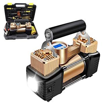 Katurn Compresor de Aire Eléctrico Conjunto Herramientas, Doble Cilindro Digital 200PSI 12V Bomba Inflador de Aire, para Neumáticos Coche Moto Bicicletas ...