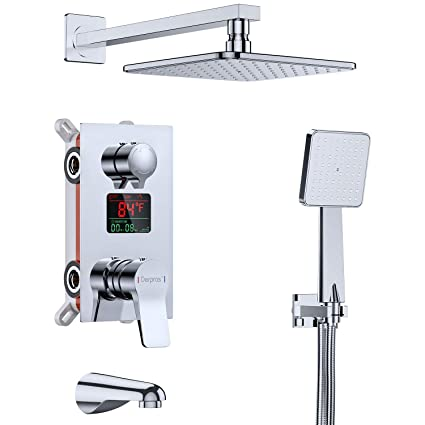 Derpras Luxury Shower System with Temperature Display, Wall Mount Shower  Faucet Set with Rainfall Shower Head, Handheld Shower and Tub Spout Faucet,