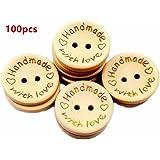 WeiMay 100 piezas de madera color botones de amor de madera grabado láser botones de costura