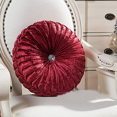 Zituop Home Decorative Round Pumpkin Throw Pillows, 13.8-inch (wine red) (Round Pillow Red)