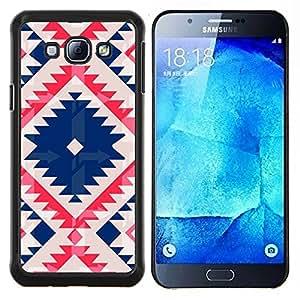 TaiTech / Prima Delgada SLIM Casa Carcasa Funda Case Bandera Cover Armor Shell Wood Texture - Nativo tribal del modelo acolchado azul - Samsung Galaxy A8 A8000