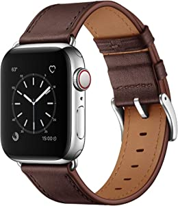 OUHENG Compatible with Apple Watch Band 44mm 42mm, Genuine Leather Band Replacement Strap Compatible with Apple Watch Series 6/5/4/3/2/1/SE, Chocolate Brown Band with Silver Adapter