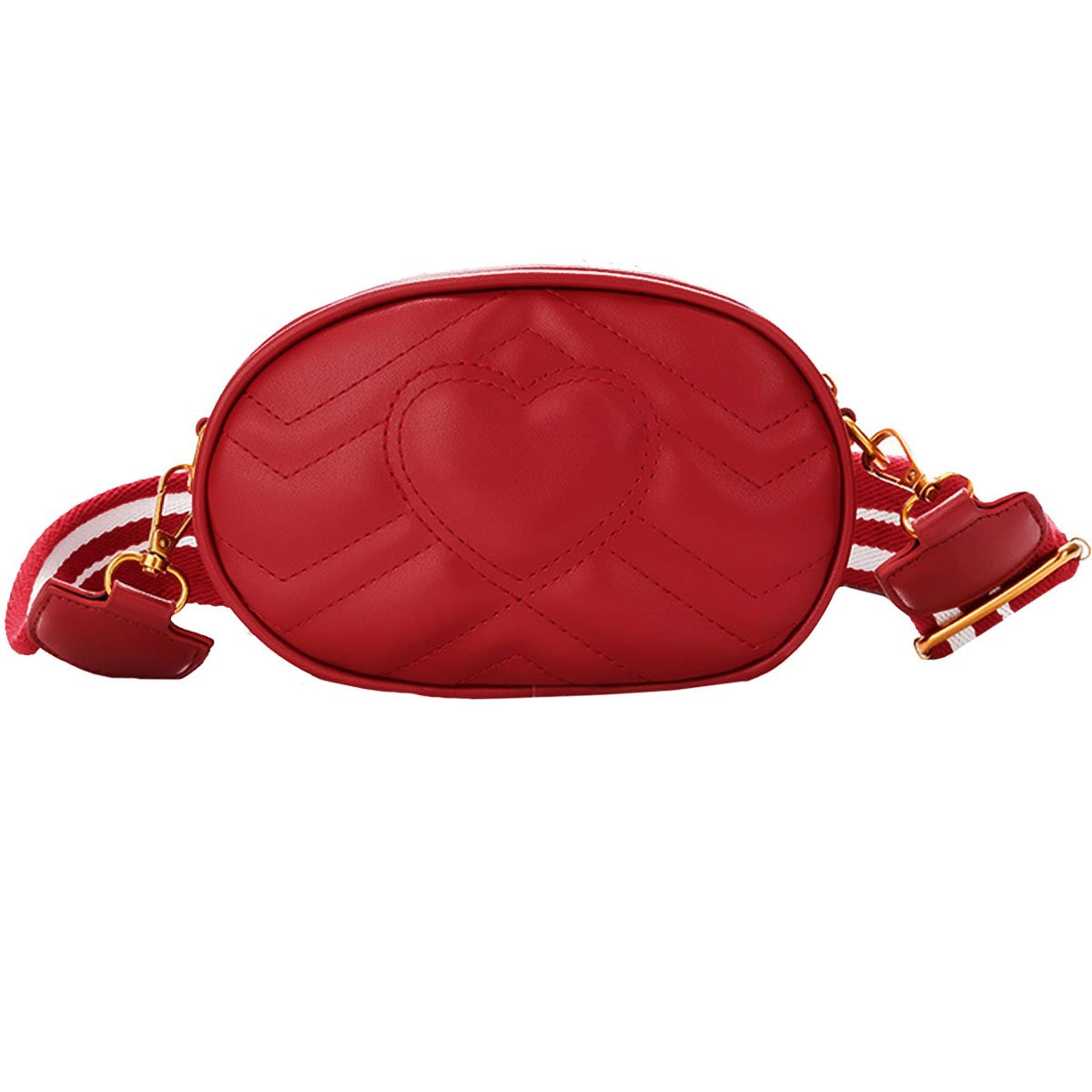 Clara Fashion Women Elegant Faux Leather Waist Bag Love Heart Shape Embroidery Fanny Pack Waist Pouch Red