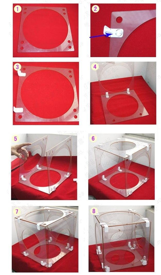 8 Holes Collapsible Acrylic Transparent Cube Balloon Sizer Box From 4'' - 12''