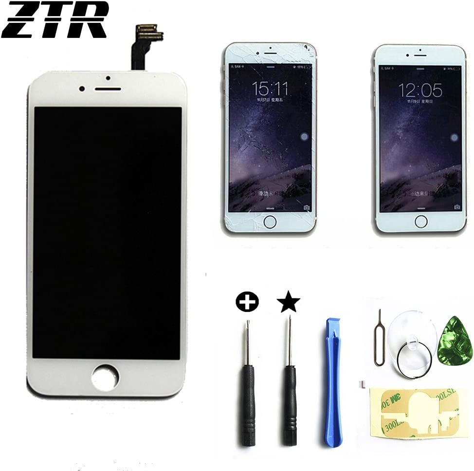 ZTR LCD Touch Screen Digitizer Frame Assembly Full Set LCD Touch Screen Replacement for iPhone 6 Plus 5.5 inch White