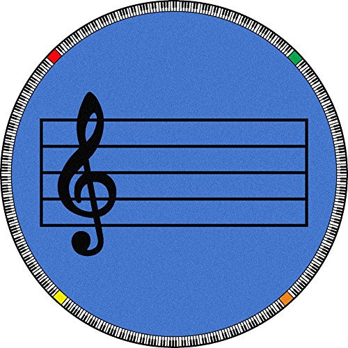 Rug By Joy Carpets - Joy Carpets Kid Essentials Music & Special Needs Round Play Along Rug, Blue, 13'2