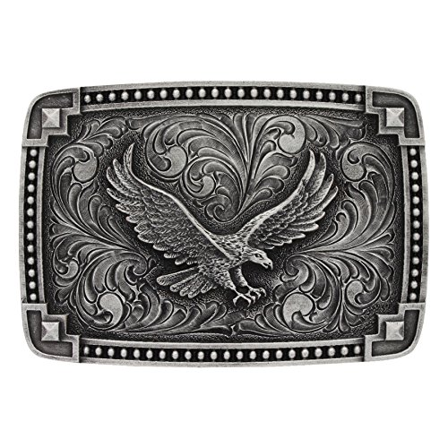 (Montana Silversmiths Classic Antiqued Tied at The Corners Attitude Buckle with Soaring)