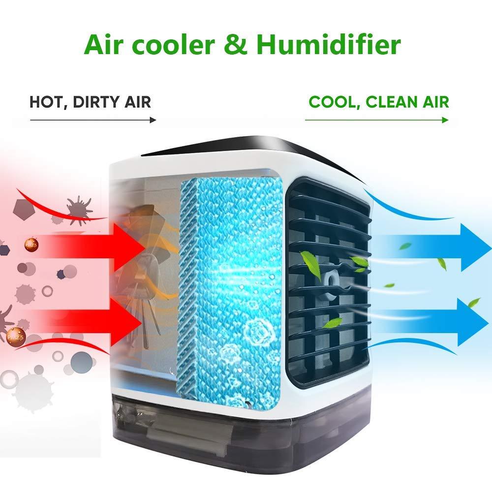Climatizzatore portatile KKCITE, Mini dispositivo di raffreddamento dell\'aria personale 4 in 1, umidificatore, purificatore e ventola di raffreddamento desktop evaporativo, USB a 7 colori ultra-silenziosi Luce a LED per casa, ufficio