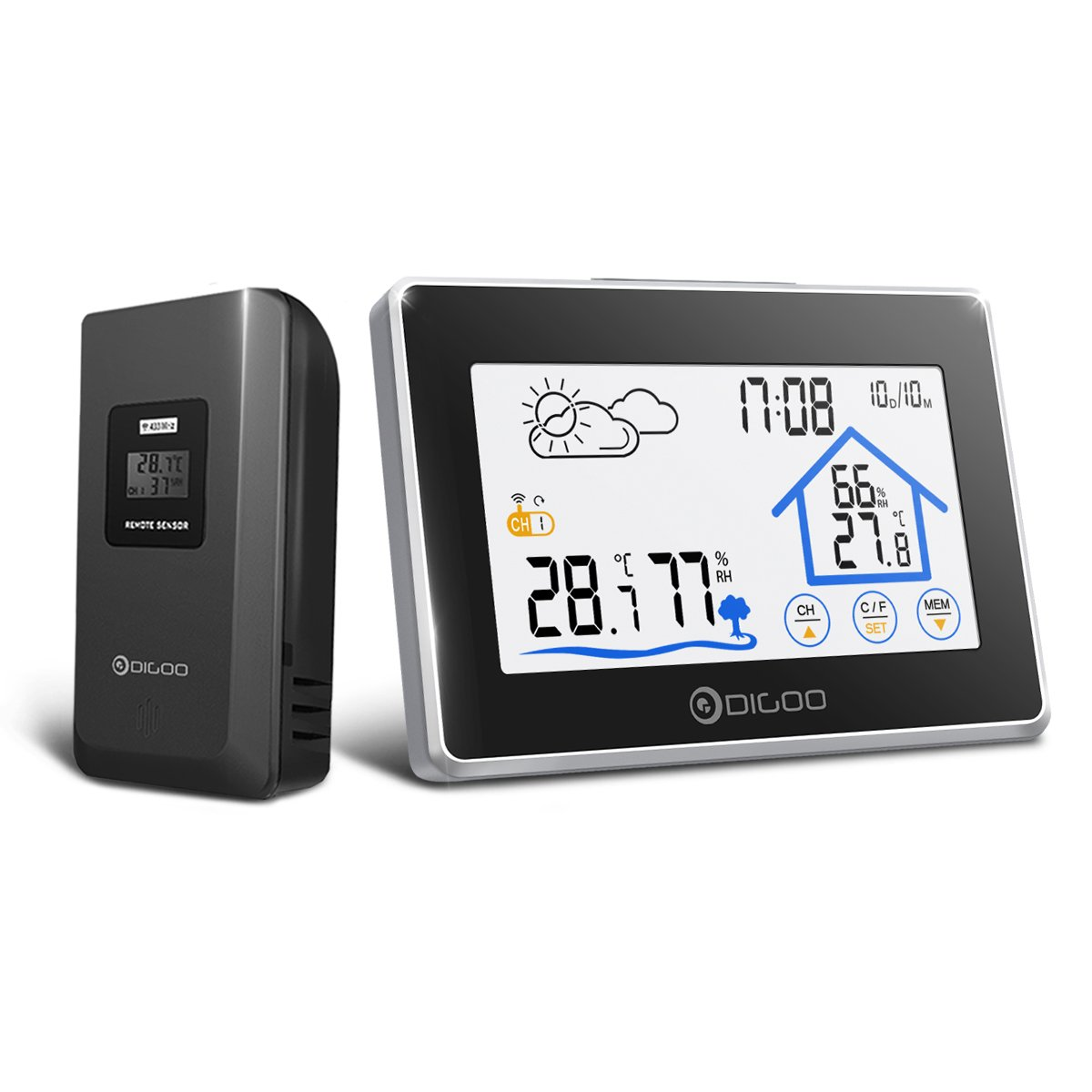 DIGOO DG-TH8380 Indoor Outdoor Thermometer Digital Hygrometer Wireless Weather Station Temperature Humidity Monitor Gauge With Outdoor Sensor,Touchscreen,Blacklight