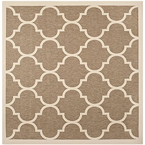 Safavieh Courtyard Collection CY6914-242 Brown and Bone Indoor/ Outdoor Square Area Rug (4' Square) (Brown Indoor Outdoor Rug)