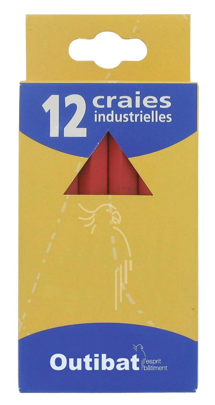 Craie industrielle Outibat - Couleur Rouge - Blister de 2
