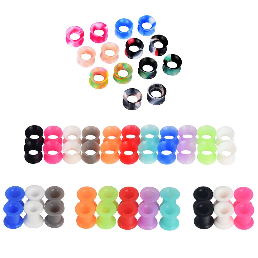 D&M Jewelry 58pcs Mixed Colorful Thin Silicone 00g Tunnel Plug Expander Piercing