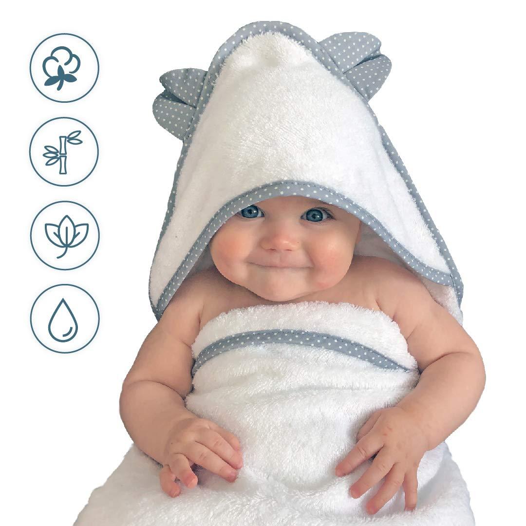 LATTCURE Kapuzenbadetuch Kuschelig und Warm aus Bambusfaser Badetuch Handtuch mit Kapuze f/ür Babys und Kleine Kinder Kapuzenhandtuch 90 90 CM