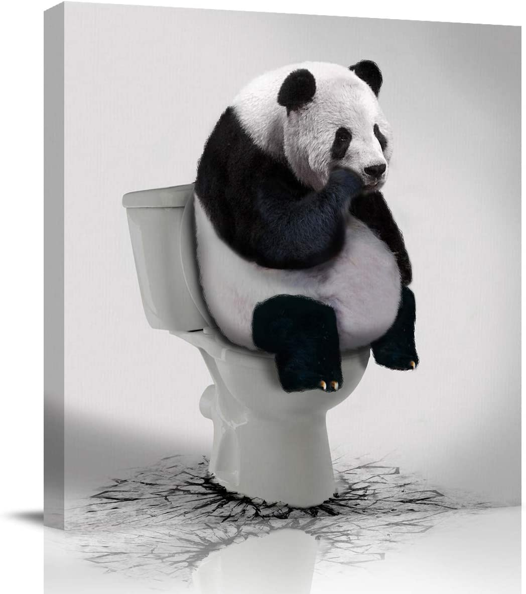 LooPoP Bathroom Decor Canvas Wall Art Framed Wall Decoration Funny Animal Gallery Wall Decor Print Panda Thinker on Toilet Picture Artwork for Walls Ready to Hang for Kitchen Bedroom Decor 12x12 Inch