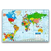 Kappa World Wall Map Poster, Home/School/Office (Giant Format, 40 x28 )