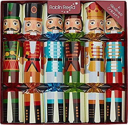 robin reed 6 piece nutcracker christmas crackers 61735