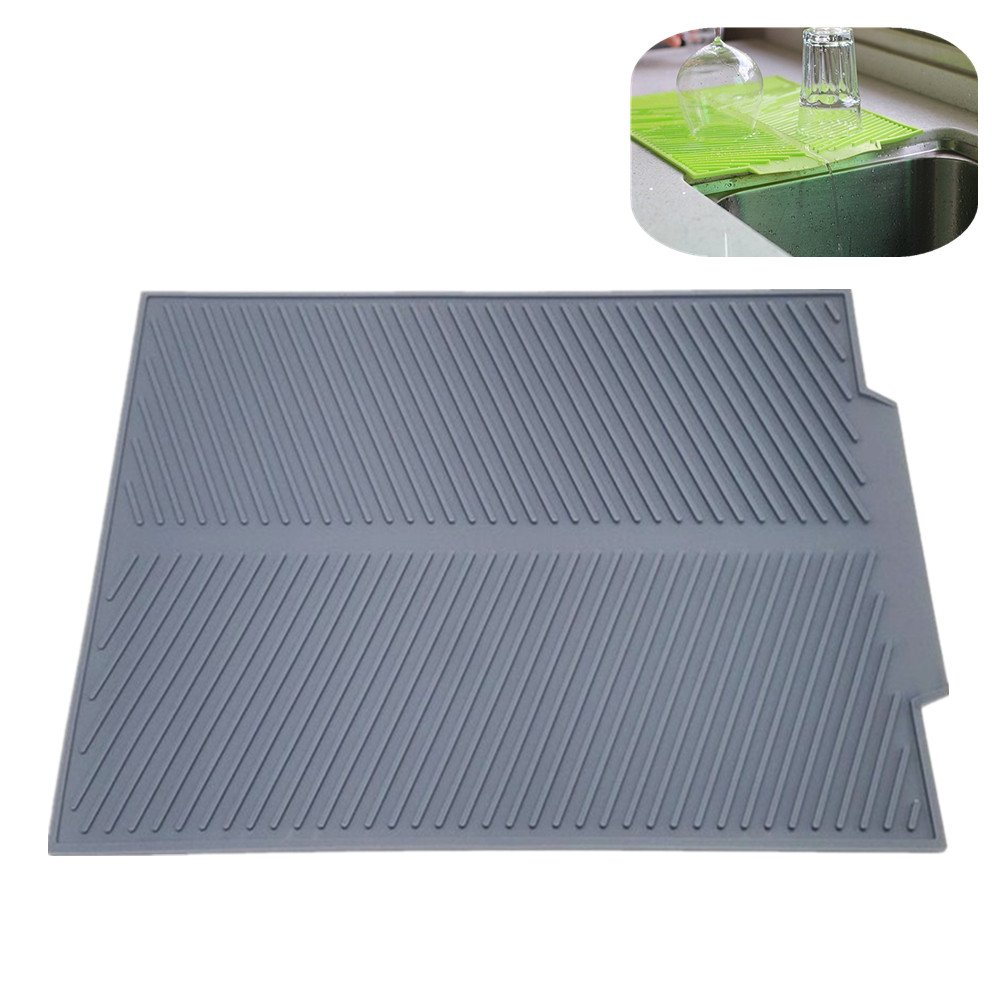 Self Draining Silicone Drying Mat. 17 x 13 inches 0.71 lb | Dish and Glassware Sloped Board Silicone Tray in Grey. Anti-Bacterial, Dish Washer Safe. Heat Resistant Trivet
