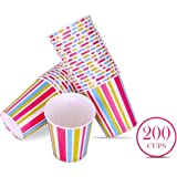 Origami Striped Printed Disposable Party Paper Cups 200ml each - 200 pieces