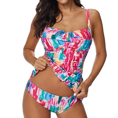 cddf1fc77d4ce Amazon.com: Winsummer Bathing Suit Women 2 Piece Tribal Printed Racerback  Tankini Swimsuits with Boyshorts Swimwear: Clothing