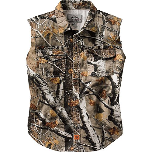 Legendary Whitetails Mens Countryboy Cut Off Shirt Big Game Field Camo Large