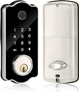 Smart Lock, Fingerprint Door Locks with Keypads Keyless Entry Deadbolt Front Door Lock for Home Hotel Office Apartment, Bluetooth APP Control Touchscreen Keypad Auto Lock Silver