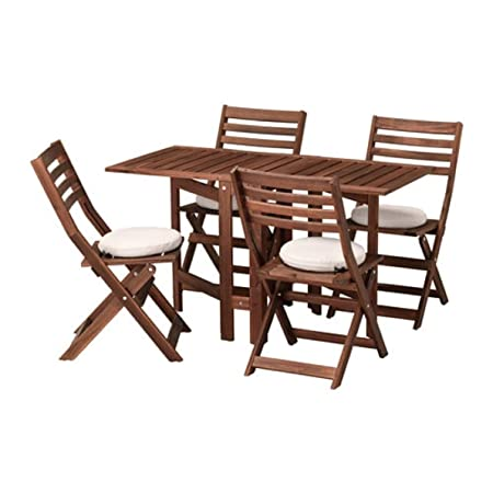Ikea - Mesa y 4 sillas Plegables de Applaro para Exteriores, Color ...