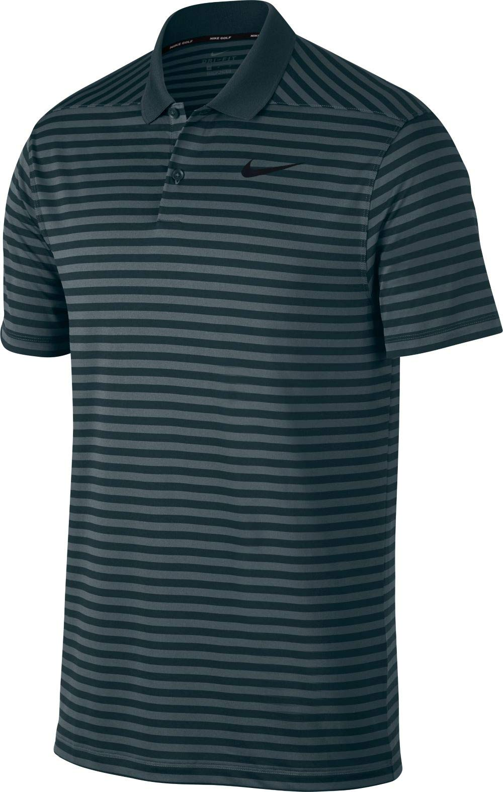 Nike Men's Dri Fit Victory Stripe LC Golf Polo (Faded Spruce/Midnight Spruce/Black, Small)