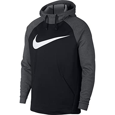 Nike Men s Therma Swoosh Training Hoodie Black Charcoal Heather White Size  Small ff35ad27f
