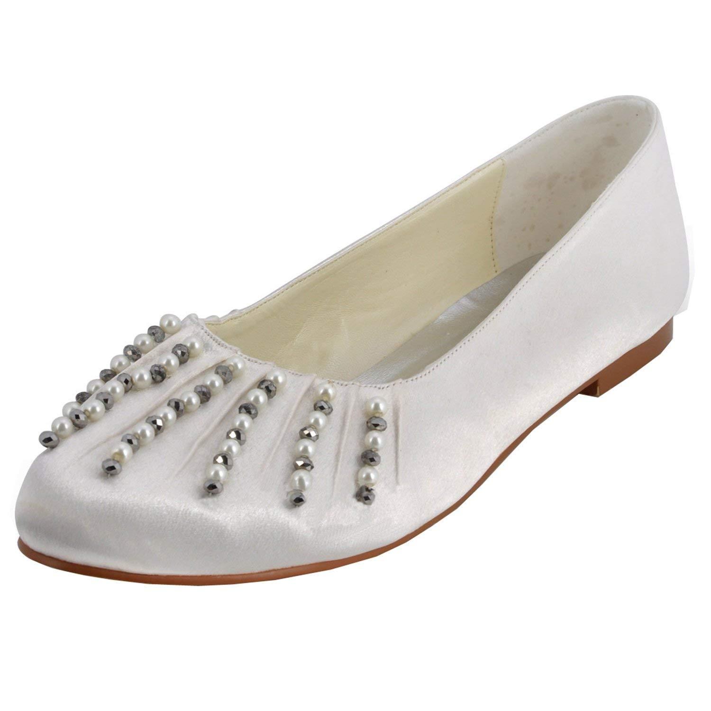 Qiusa GYMZ688 Damen Satin Abend Party Prom Braut Hochzeit Schuhe Pumps Sandalen Flatfs (Farbe   Ivory-1.5cm Heel Größe   5.5 UK)