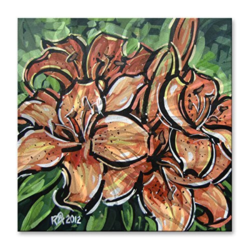 Metal Wall Art Decor Sculpture Floral 'Orange Lilies 2'