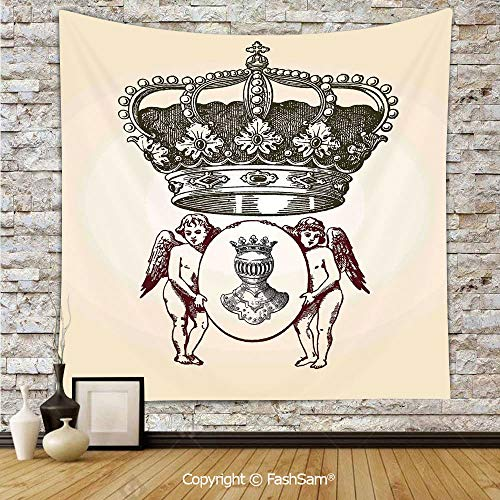 (FashSam Polyester Tapestry Wall Illustration Shield Design Art with Crest Badge Medallion Angel Royal Hanging Printed Home Decor(W51xL59) )