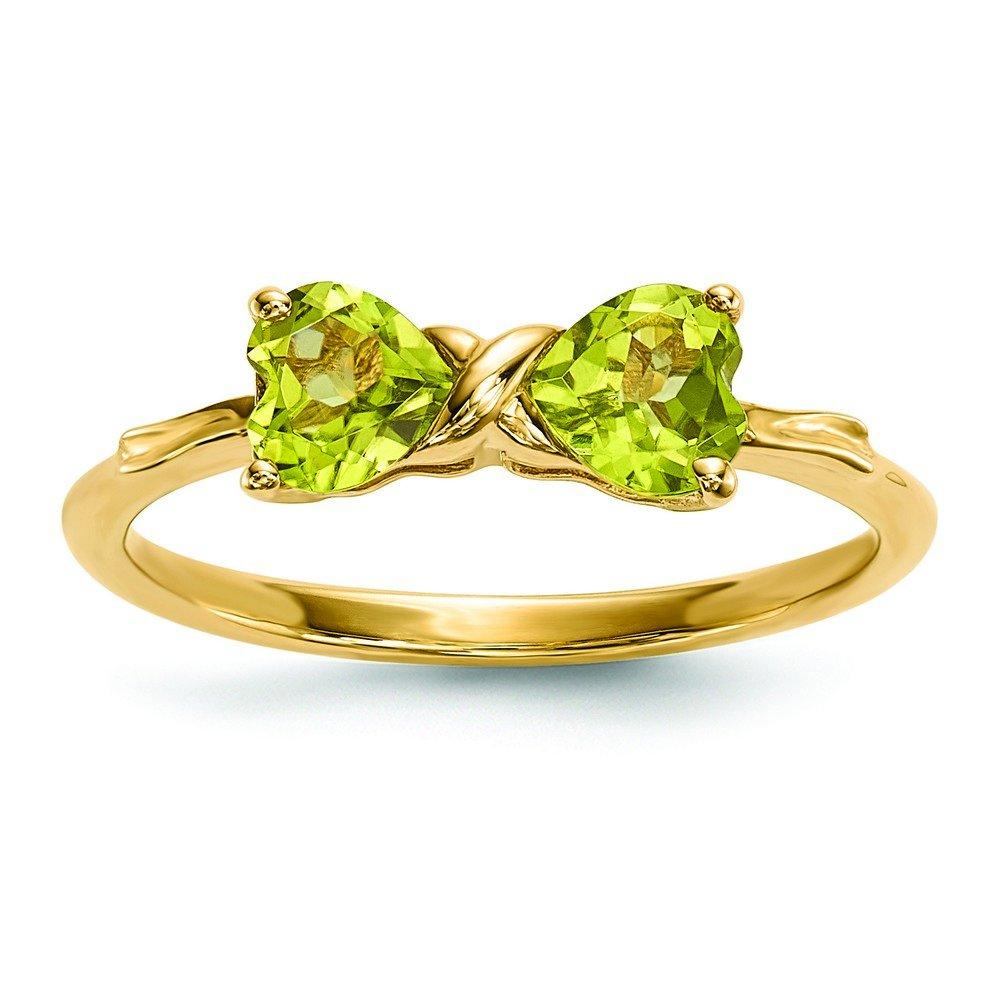 14k Gold Polished Peridot Bow Ring
