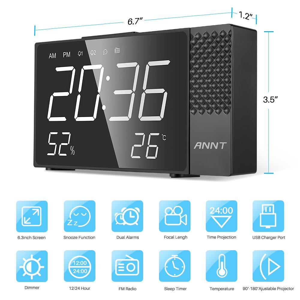 ANNT Projection Alarm Clock, Digital FM Radio Alarm Clock, Dual Alarm Snooze Function, 6.3