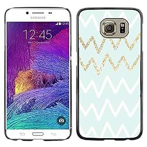 Be Good Phone Accessory // Dura Cáscara cubierta Protectora Caso Carcasa Funda de Protección para Samsung Galaxy S6 SM-G920 // Gold White Green Zag Pattern