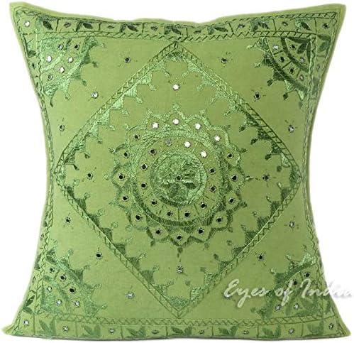 decorative boho accent unique pretty patchwork 16x16.htm amazon com eyes of india 24  green mirror embroidered pillow  mirror embroidered pillow