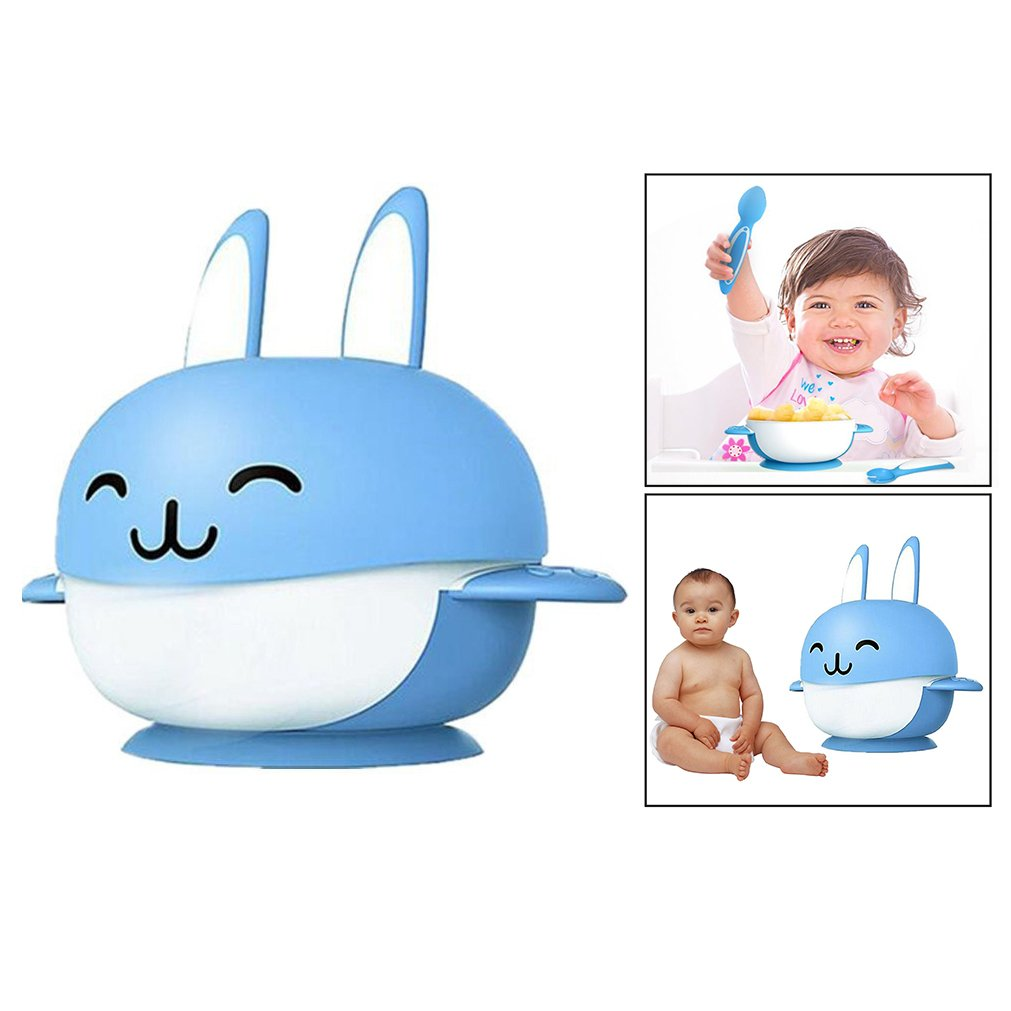 Itian Cartoon Rabbit Shape Infant Feeding Tableware 4 set Bowl With Lid Matching Spoon And Fork, Leak Proof Suction Baby Bowl (Blue)